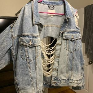 Oversized Distressed Denim Jacket w/ Beaded detail
